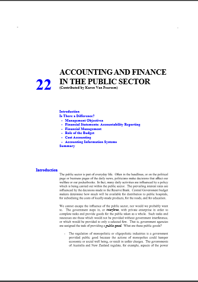 Cover of ACCOUNTING AND FINANCE IN THE  PUBLIC SECTOR