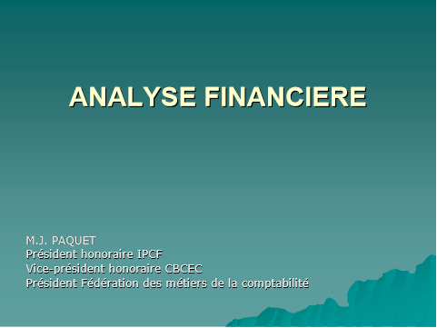 Cover of ANALYSE FINANCIERE