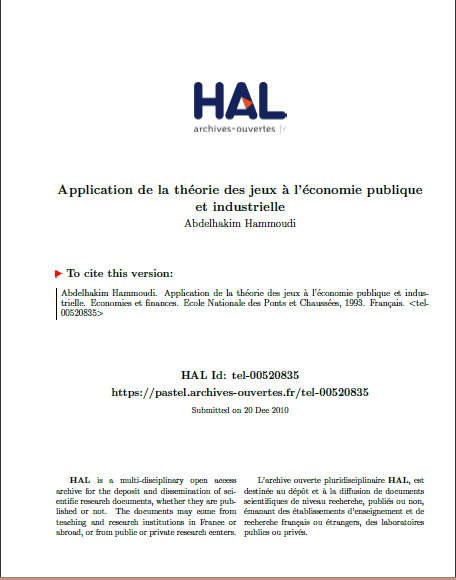Cover of APPLICATION DE LA THEORIE DES JEUX DE LECONOMIE PUBLIQUE ET INDUSTRIELLE