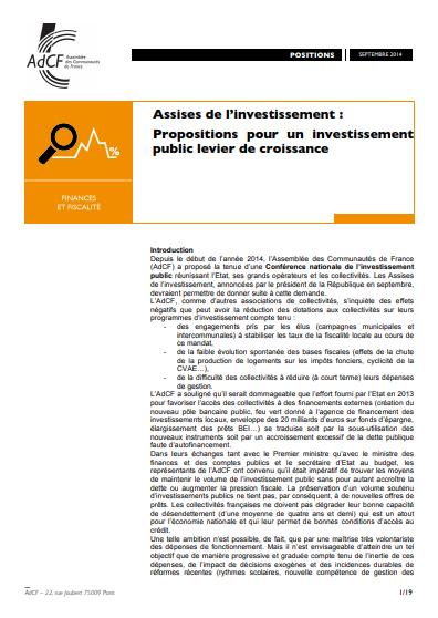 ASSISES DE LINVESTISSEMENT