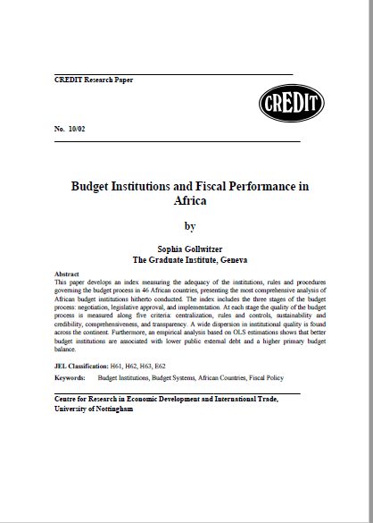 BUDGET INSTITUTIONS AND FISCAL PERFORMANCE IN AFRI...