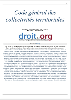 CODE GENERAL DES COLLECTIVITES TERRITORIALES DECEN...