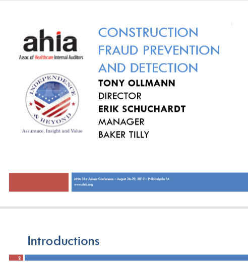 CONSTRUCTION FRAUD PREVENTION  AND DETECTION