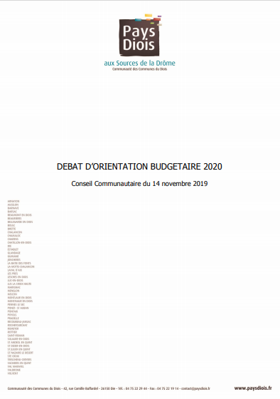 Cover of DEBAT DORIENTATION BUDGETAIRE 2020
