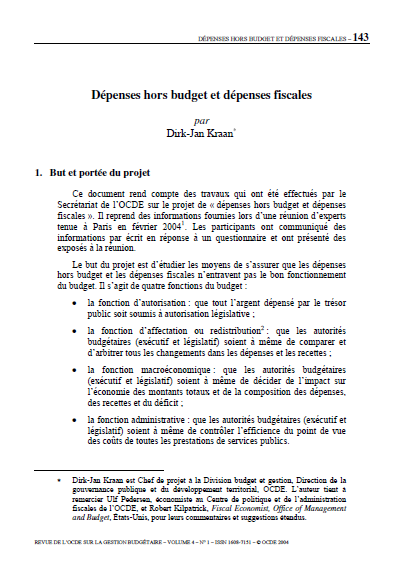 Cover of DEPENSES HORS BUDGET ET DEPENSES FISCALES