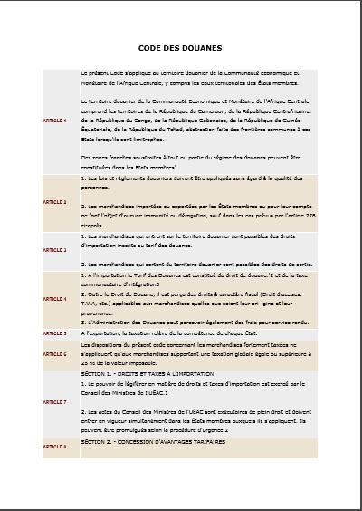 code des douanes cemac
