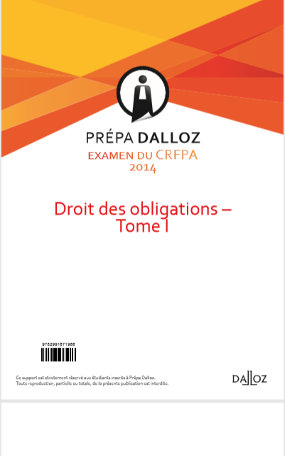 Cover of DROIT DES OBLIGATIONS TOME 1