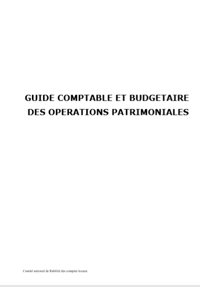 Cover of GUIDE COMPTABLE ET BUDGETAIRE DES OPERATIONS PATRIMONIALES