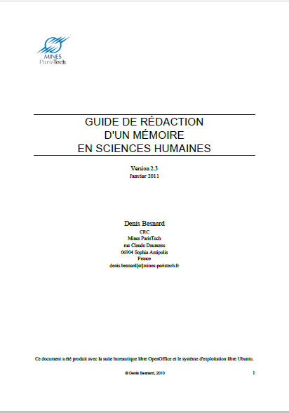 GUIDE DE REDACTION DUN MEMOIRE EN SCIENCES SOCIALE