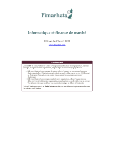 INFORMATIQUE ET FINANCE DE MARCHE