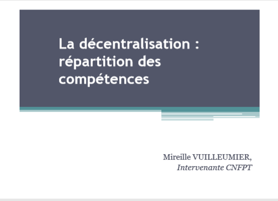 Cover of LA DECENTRALISATION REPARTITION DES COMPETENCES