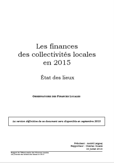 LES FINANCES  DES COLLECTIVITES LOCALES EN 2015