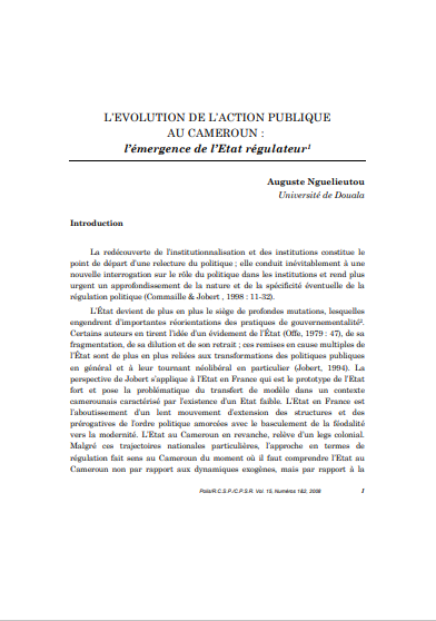 LEVOLUTION DE LACTION PUBLIQUE AU CAMEROUN