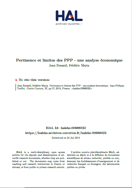 Cover of PERTINENCES ET LIMITES DES PPP