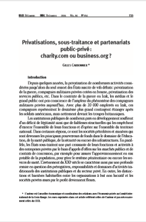 Cover of PRIVATISATION SOUS TRAITANCE PARTENARIAT PUBLIC PRIVE