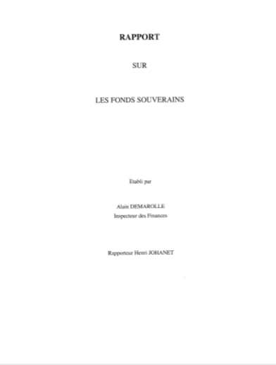 Cover of RAPPORT SUR LES FONDS SOUVERAINS
