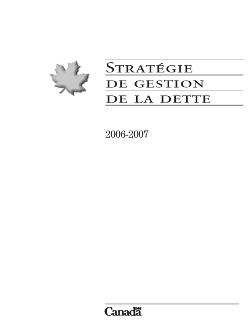 STRATEGIE DE GESTION DE LA DETTE