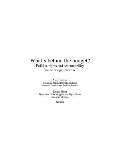 WHAT IS BEHIND THE BUDGET